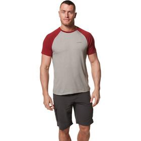 Craghoppers NosiLife Anello Camisa Manga Corta Hombre, beige/rojo